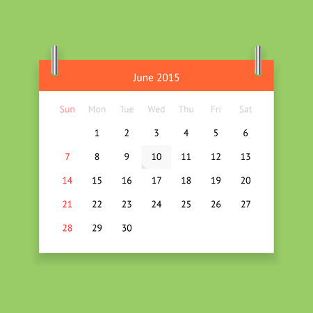 Simple calendar page for June 2015 on green background
