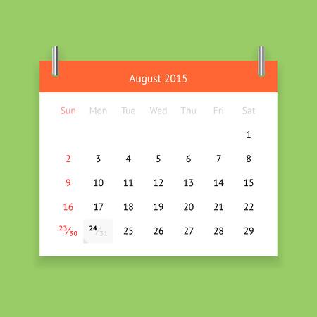 P�gina del calendario simple para agosto 2015 sobre fondo verde