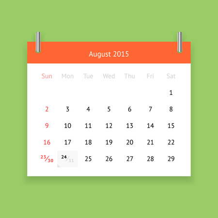 Simple calendar page for August 2015 on green background