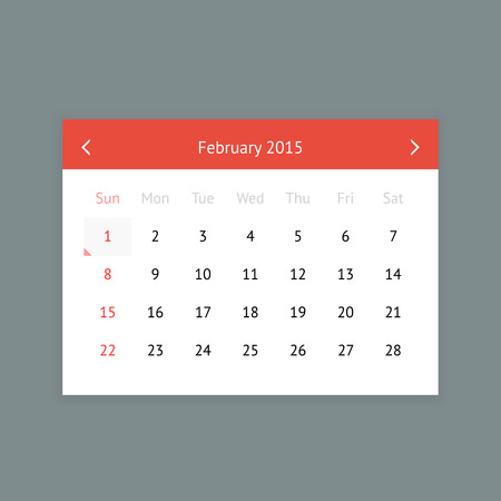 minimalistic: Minimalistic clean calendar page for February 2015