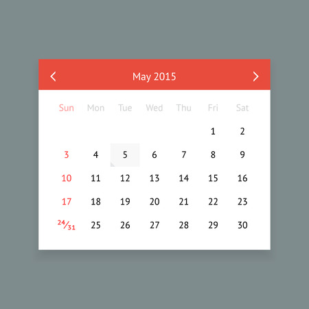 minimalistic: Minimalistic clean calendar page for May 2015 Illustration