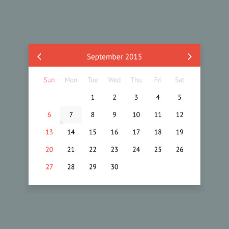 minimalistic: Minimalistic clean calendar page for September 2015