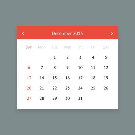 P�gina del calendario limpia minimalista de diciembre 2015