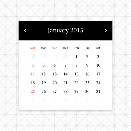 calendar page: Calendar page for January 2015 on minimalistic monochrome abstract background Illustration