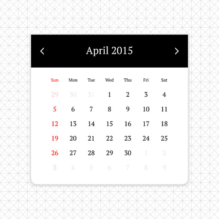 calendar page: Calendar page for April 2015 on minimalistic monochrome abstract background Illustration