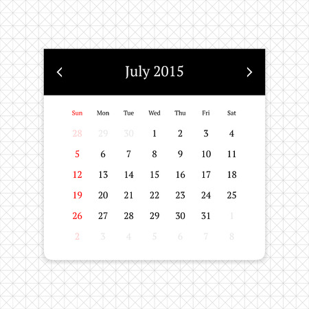 calendar page: Calendar page for July 2015 on minimalistic monochrome abstract background
