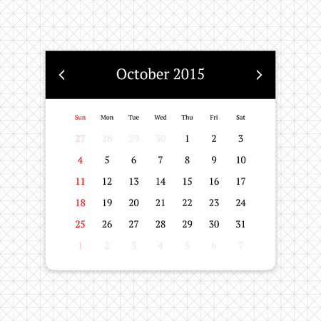 calendar page: Calendar page for October 2015 on minimalistic monochrome abstract background
