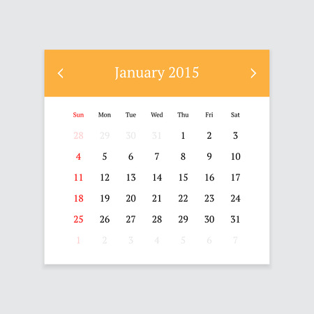 event planner: Minimalistic clean calendar page for January 2015 on light grey background Illustration