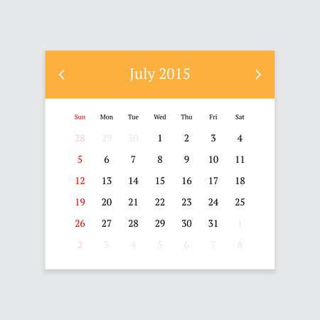 calendar page: Minimalistic clean calendar page for July 2015 on light grey background