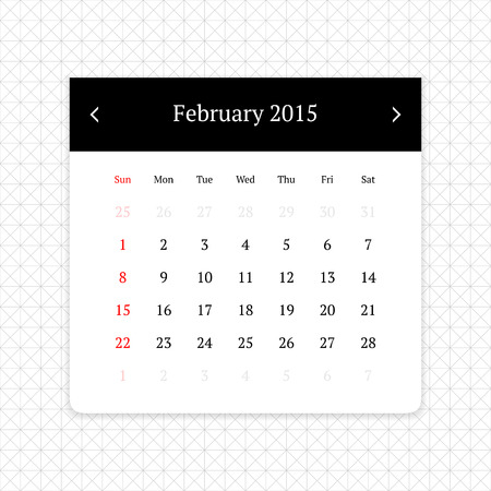 calendar page: Calendar page for February 2015 on minimalistic monochrome abstract background
