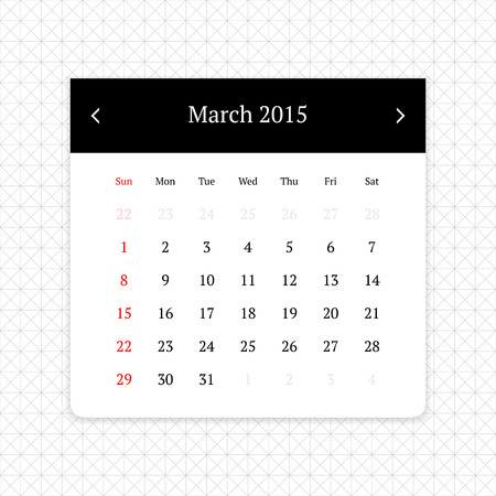 calendar page: Calendar page for March 2015 on minimalistic monochrome abstract background Illustration