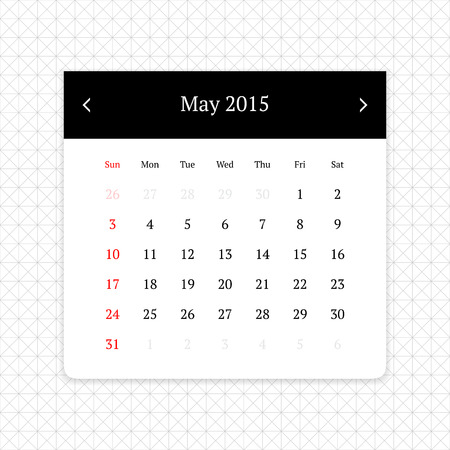 calendar page: Calendar page for May 2015 on minimalistic monochrome abstract background