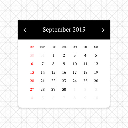 calendar page: Calendar page for September 2015 on minimalistic monochrome abstract background