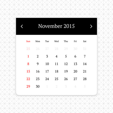 calendar page: Calendar page for November 2015 on minimalistic monochrome abstract background Illustration