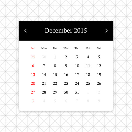 calendar page: Calendar page for December 2015 on minimalistic monochrome abstract background