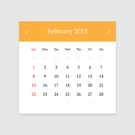 calendar page: Minimalistic clean calendar page for February 2015 on light grey background Illustration