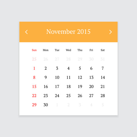 calendar page: Minimalistic clean calendar page for November 2015 on light grey background Illustration