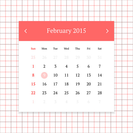 calendar page: Calendar page for February 2015 on tattersall plaid seamless background Illustration