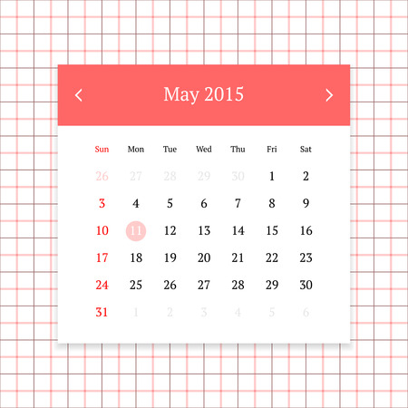 calendar page: Calendar page for May 2015 on tattersall plaid seamless background Illustration