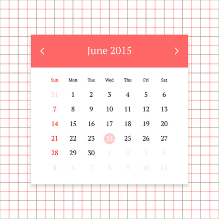 calendar page: Calendar page for June 2015 on tattersall plaid seamless background Illustration
