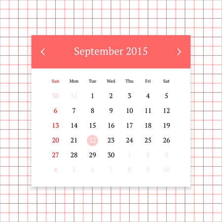 calendar page: Calendar page for September 2015 on tattersall plaid seamless background Illustration