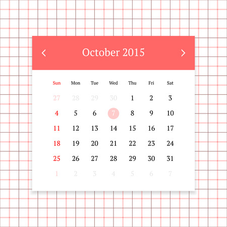 calendar page: Calendar page for October 2015 on tattersall plaid seamless background
