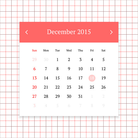 Calendar page for December 2015 on tattersall plaid seamless background