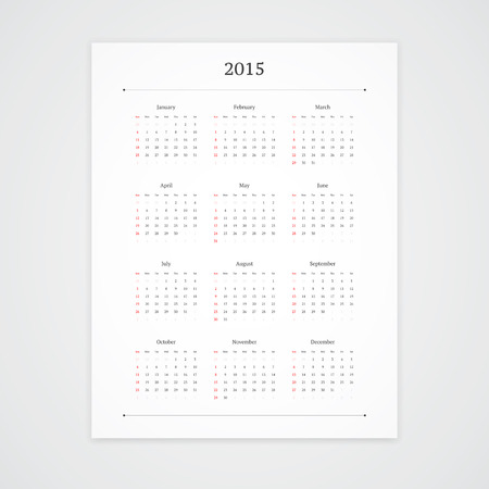 Simple 2015 calendar vector template isolated on white background. Portrait orientation. Illustration