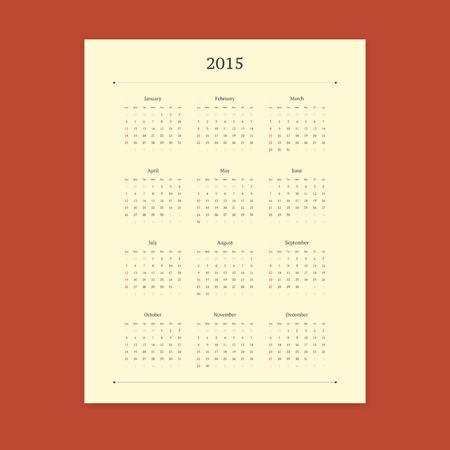 portrait orientation: Retro 2015 calendar vector template on stylish red background. Portrait orientation.