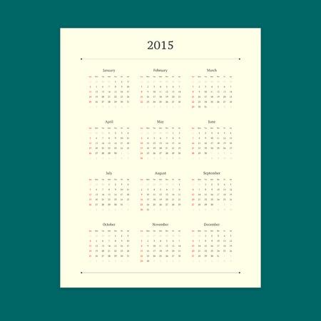 Retro 2015 calendar vector template on stylish turquoise background. Portrait orientation.