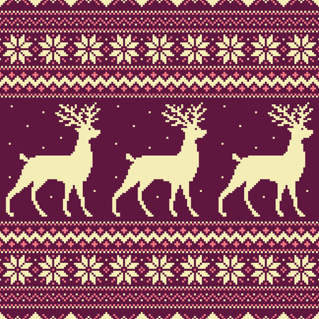 Pink Christmas background with pixel deer and snowflakes Illustration