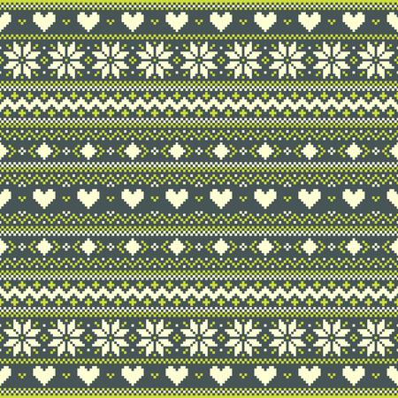 Groene winter pixel achtergrond met harten en sneeuwvlokken