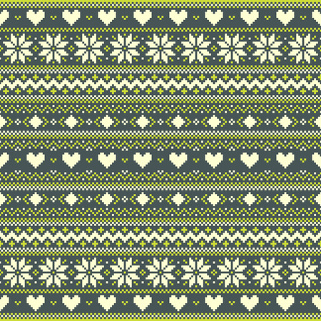 Green winter pixel background with hearts and snowflakes