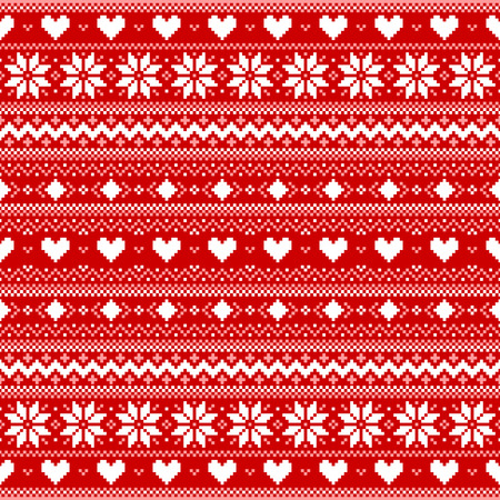 Red pixel background with hearts and snowflakes