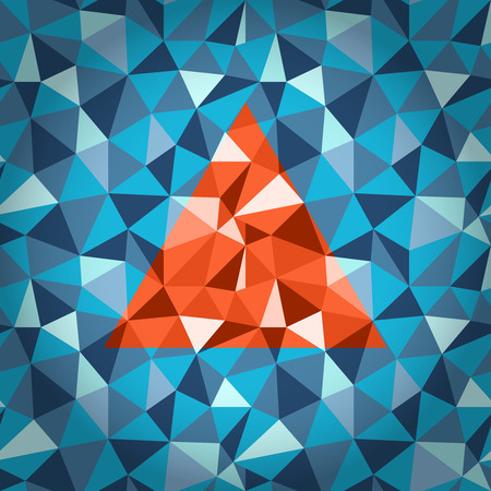 Abstract blue polygonal geometric background with orange triangle