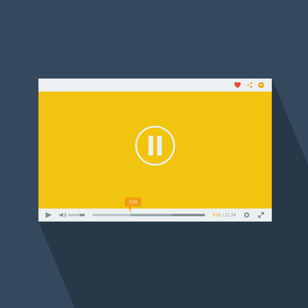 Yellow flat design video player vector template