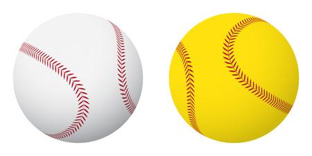 Se divierte bolas: el béisbol y el softbol. Pequeño conjunto. Ilustración de vector