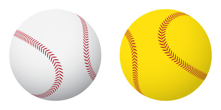 Sports balls: baseball and softball. Small set.