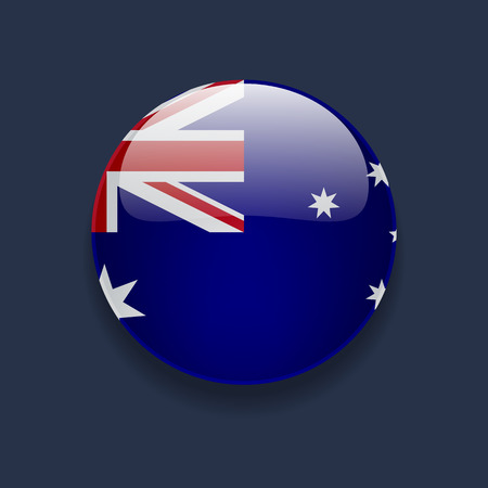 australian flag: Round glossy icon with national flag of Australia on dark blue background