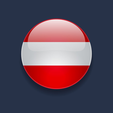 austrian flag: Round glossy icon with national flag of Austria on dark blue background