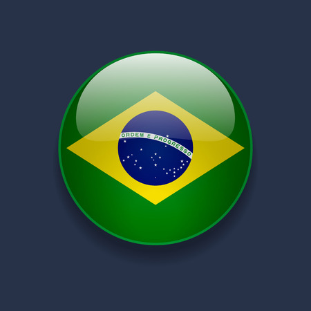 Round glossy icon with national flag of Brazil on dark blue background Stock Illustratie