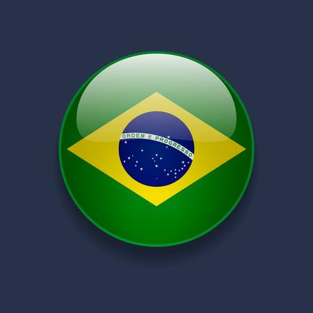 Ronde glanzende pictogram met nationale vlag van Brazilië op donkerblauwe achtergrond