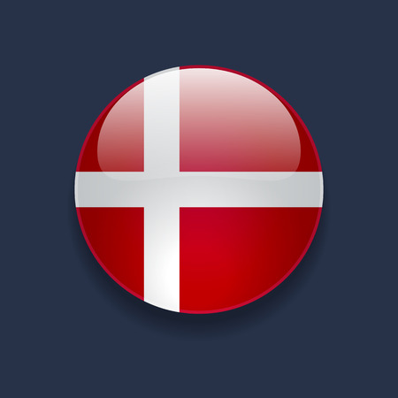 Round glossy icon with national flag of Denmark on dark blue background