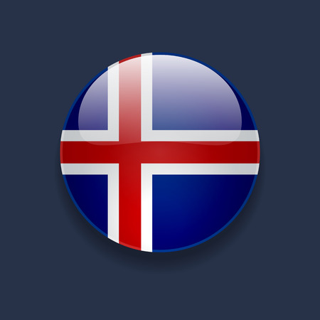 nordic country: Round glossy icon with national flag of Iceland on dark blue background