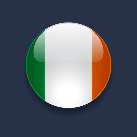 Round glossy icon with national flag of Ireland on dark blue background Vector