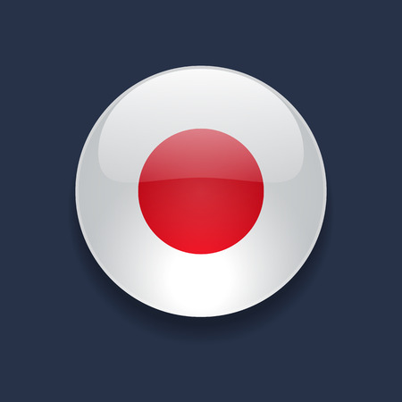 Round glossy icon with national flag of Japan on dark blue background