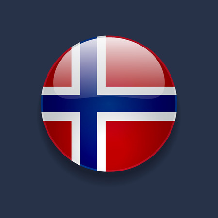 Round glossy icon with national flag of Norway on dark blue background Illustration