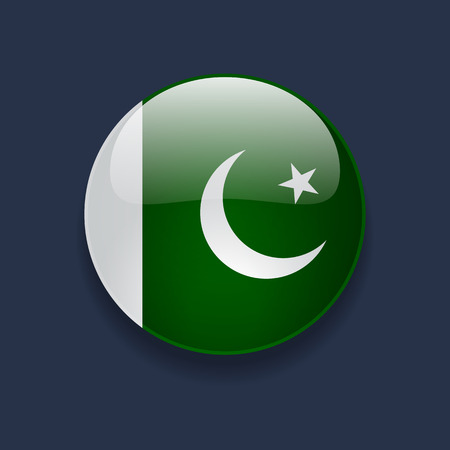 pakistani: Round glossy icon with national flag of Pakistan on dark blue background