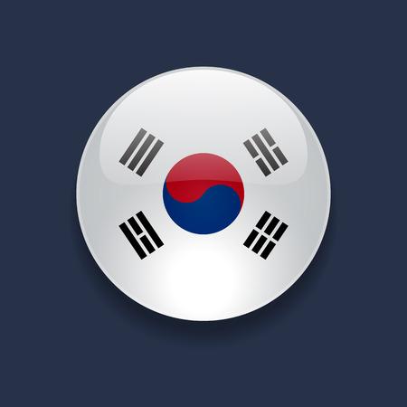 Icono brillante redondo con la bandera nacional de Corea del Sur en el fondo azul oscuro