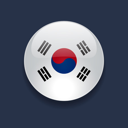 Round glossy icon with national flag of South Korea on dark blue background Vettoriali